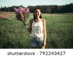Small photo of Beautiful girl on the Chamerion field