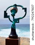 Small photo of SYDNEY, NSW, AUSTRALIA - OCTOBER 31: Sculpture by the sea - an outdoor exhibtion along the coast at Bondi, artwork Song of the Aisors from artist Jock Clutterbuck, October 31, 2017 Sydney, Australia