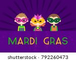 mardi gras celebration. comic... | Shutterstock .eps vector #792260473