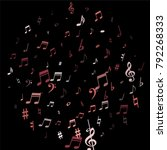 pink flying musical notes... | Shutterstock .eps vector #792268333