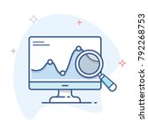 computer monitor with graph and ... | Shutterstock .eps vector #792268753