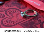 white gold diamond ring on top... | Shutterstock . vector #792272413