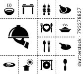 plate icons. set of 13 editable ... | Shutterstock .eps vector #792278827