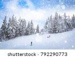 beautiful winter landscape with ... | Shutterstock . vector #792290773