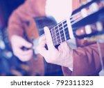 image of hands of man in jacket ... | Shutterstock . vector #792311323
