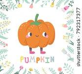 cute cartoon pumpkin... | Shutterstock .eps vector #792317377