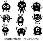 cute vector set with fun... | Shutterstock .eps vector #792340093