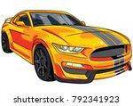 illustration of orange  sport... | Shutterstock .eps vector #792341923