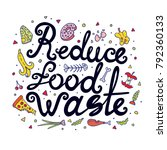 reduce food waste hand drawn... | Shutterstock .eps vector #792360133