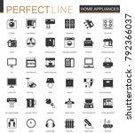 black classic home appliances... | Shutterstock . vector #792366037