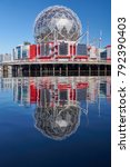 Small photo of FALSE CREEK, VANCOUVER, CANADA - OCTOBER 2017: 'Science World at Telus World of Science', British Columbia's famous science center and museum - mirror reflection over False Creek harbour.
