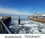 Winter Harbor Scene By Dock