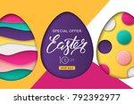 happy easter sale banner.... | Shutterstock .eps vector #792392977