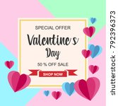 valentines day sale and... | Shutterstock .eps vector #792396373