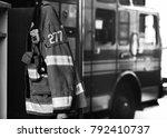 firefighter gear with fire... | Shutterstock . vector #792410737