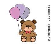 cute bear teddy with balloons... | Shutterstock .eps vector #792458653