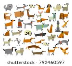 cute dogs collection  sketch... | Shutterstock .eps vector #792460597