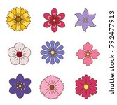 icons of flowers. flat style.... | Shutterstock .eps vector #792477913