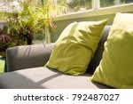 pillow on sofa in coffee shop... | Shutterstock . vector #792487027