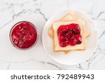 bread with strawberry jam for... | Shutterstock . vector #792489943