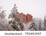 town house among the snowy fir... | Shutterstock . vector #792491947