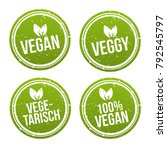 vegan button und vegetarisch... | Shutterstock .eps vector #792545797