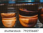 the bowls of wood on the shelf. | Shutterstock . vector #792556687