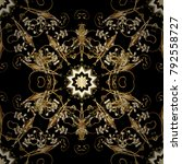 golden floral ornament in... | Shutterstock .eps vector #792558727