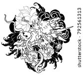 japanese old dragon tattoo for... | Shutterstock .eps vector #792561313