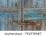 Old Blue Door Whit A Doorlock ...