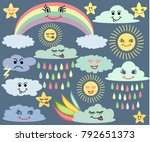 emotional sun and clouds  stars ... | Shutterstock .eps vector #792651373