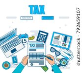state taxes. tax payment.... | Shutterstock .eps vector #792659107