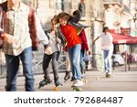 happy teen skateboarding with... | Shutterstock . vector #792684487