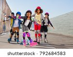 happy little roller skaters... | Shutterstock . vector #792684583