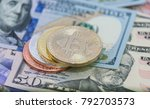 bitcoins with us banknotes ... | Shutterstock . vector #792703573
