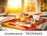 breakfast and background of... | Shutterstock . vector #792705643