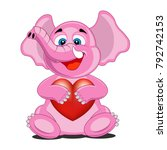cute cartoon pink elephant... | Shutterstock .eps vector #792742153