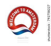 welcome to amsterdam... | Shutterstock .eps vector #792758227