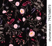 trendy dark floral pattern in... | Shutterstock .eps vector #792768073