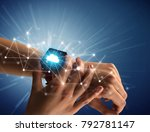 close up female hand with... | Shutterstock . vector #792781147