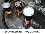 three pints of lager beer... | Shutterstock . vector #792799453