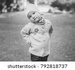 children's black white portrait ... | Shutterstock . vector #792818737