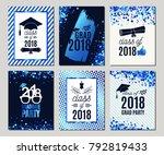 graduation class of 2018 blue... | Shutterstock .eps vector #792819433