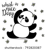 cute panda  sweet character for ... | Shutterstock .eps vector #792820387