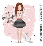 Stock vector romantic girl cute girl fashion girl vector girl 792867847