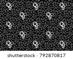 evil pattern with bones and... | Shutterstock .eps vector #792870817