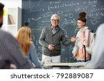 mature teacher introducing new... | Shutterstock . vector #792889087