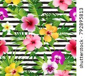 tropical flowers and leaves on... | Shutterstock .eps vector #792895813