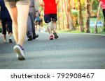 group of people exercising in a ... | Shutterstock . vector #792908467