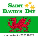 saint david's day card the flag ... | Shutterstock .eps vector #792910777